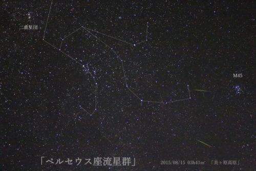 ペルセウス流星群は北東