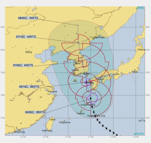 台風10号米軍9月6日予想