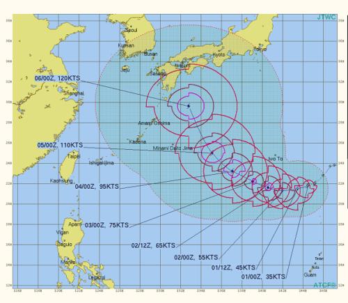 台風10号米軍進路予想