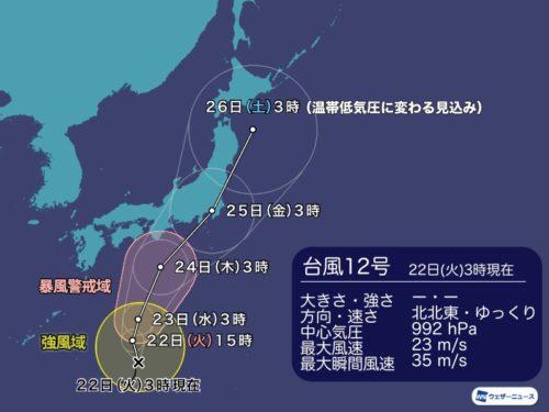 台風12号東京のピークはいつ?暴風域や雨量を確認
