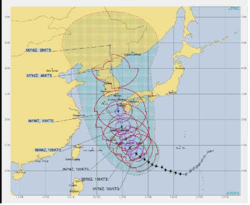台風10号米軍予想9月5日