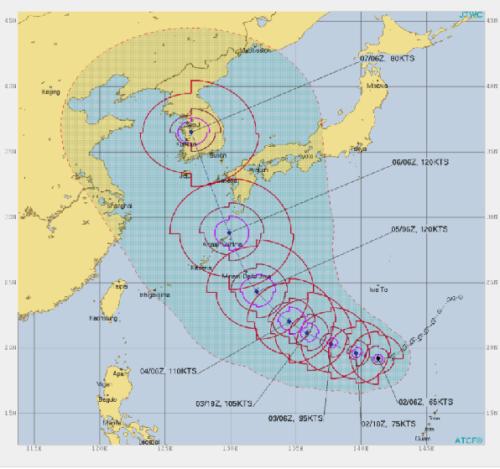 台風10号進路予想図9月2日