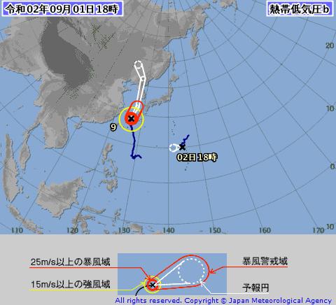 台風10号熱帯低気圧b気象庁