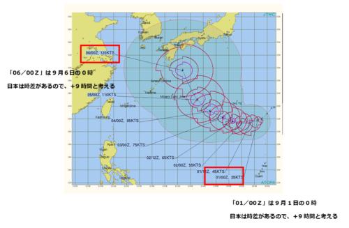 米軍台風進路予想図の見方