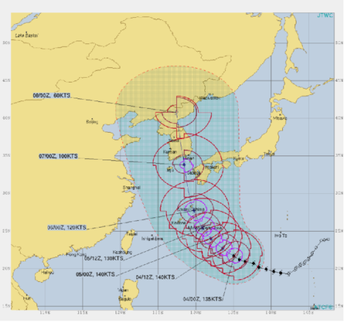 台風10号進路予想9月4日