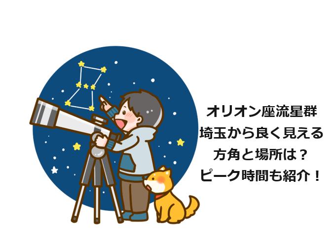 オリオン座流星群埼玉から良く見える方角と場所は?ピーク時間も紹介